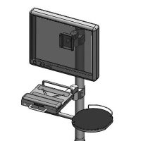Compact pole mount LCD bracket