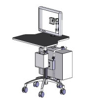 Pneumatic lift NB computer mobile cart