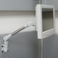 Track mount slim LCD monitor arm
