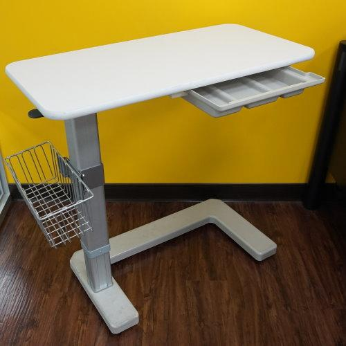 Low-profile C-shaped mobile base over-bed table