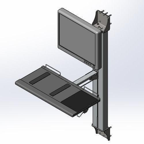 Pneumatic cylinder lift wall track mount LCD/KB workstation
